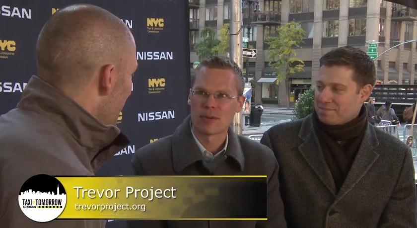 Nick Kurczewski and his boyfriend, Matthew, on Nissan's 'Taxi of Tomorrow' Ca$h Cab for charity