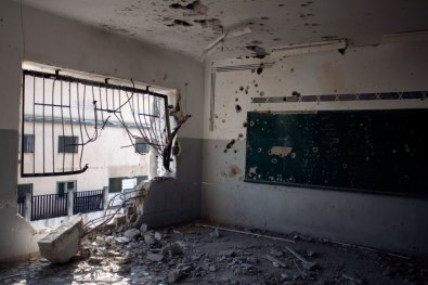 Bombed out school room, after the war on Gaza, summer 2014