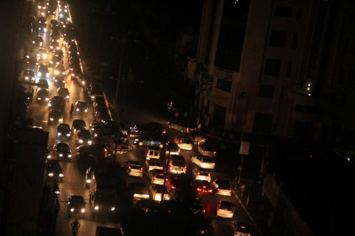 Gaza City traffic at night
