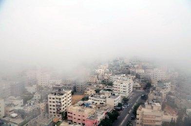 Gaza City in fog