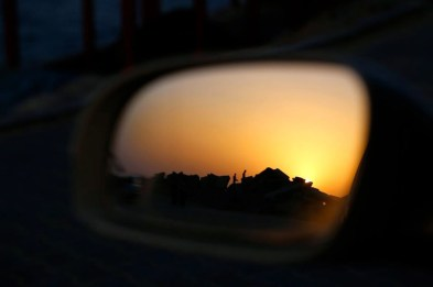 Gaza seaport in the side view mirror