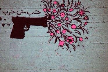 """""""My graffiti 'Love not War!'"""" Lara"""