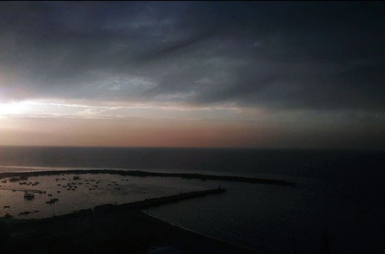 Gaza seaport after sunset on a winter day