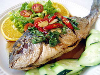Fried fish with sweet sour sauce