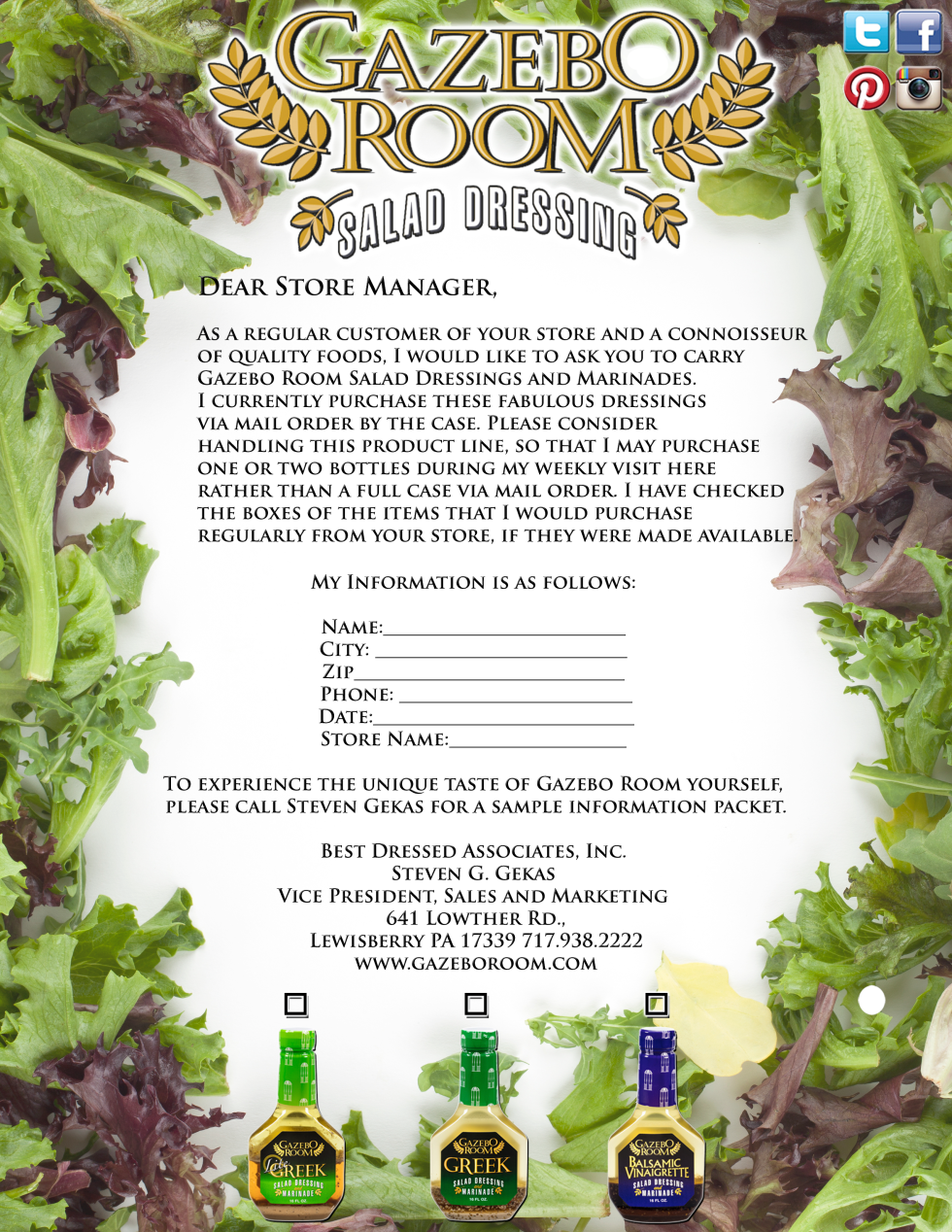 Gazebo Room Salad Dressing Product Request Form