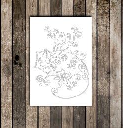 Carte postale à colorier-Fleur
