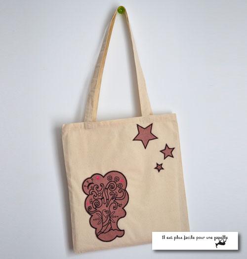 Tote bag avec un écusson brodé-rose chiné