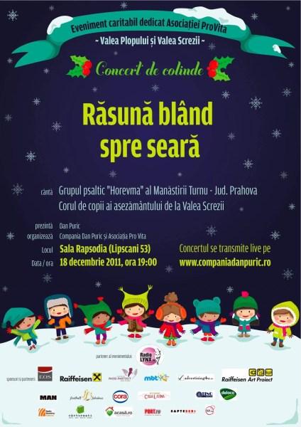Concert caritabil de colinde pentru copiii de la Valea Plopului