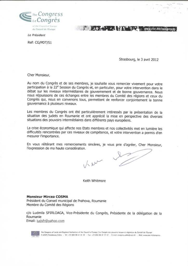 Scrisoare de mulţumire de la Consiliul Europei pentru MIrcea Cosma