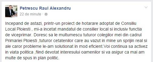 Prima reacţie a lui Raul Petrescu după ce a fost demis
