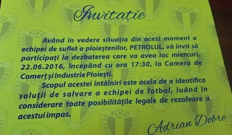 Noul primar al Ploieștiului, Adrian Dobre, invită oamenii de afaceri și suporterii s-o salveze pe Petrolul!