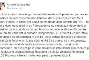 Mesajul lui Andrei Volosevici. De ce nu a candidat independent