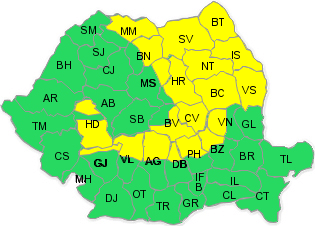 Cod galben de vânt puternic în nordul judeţului Prahova