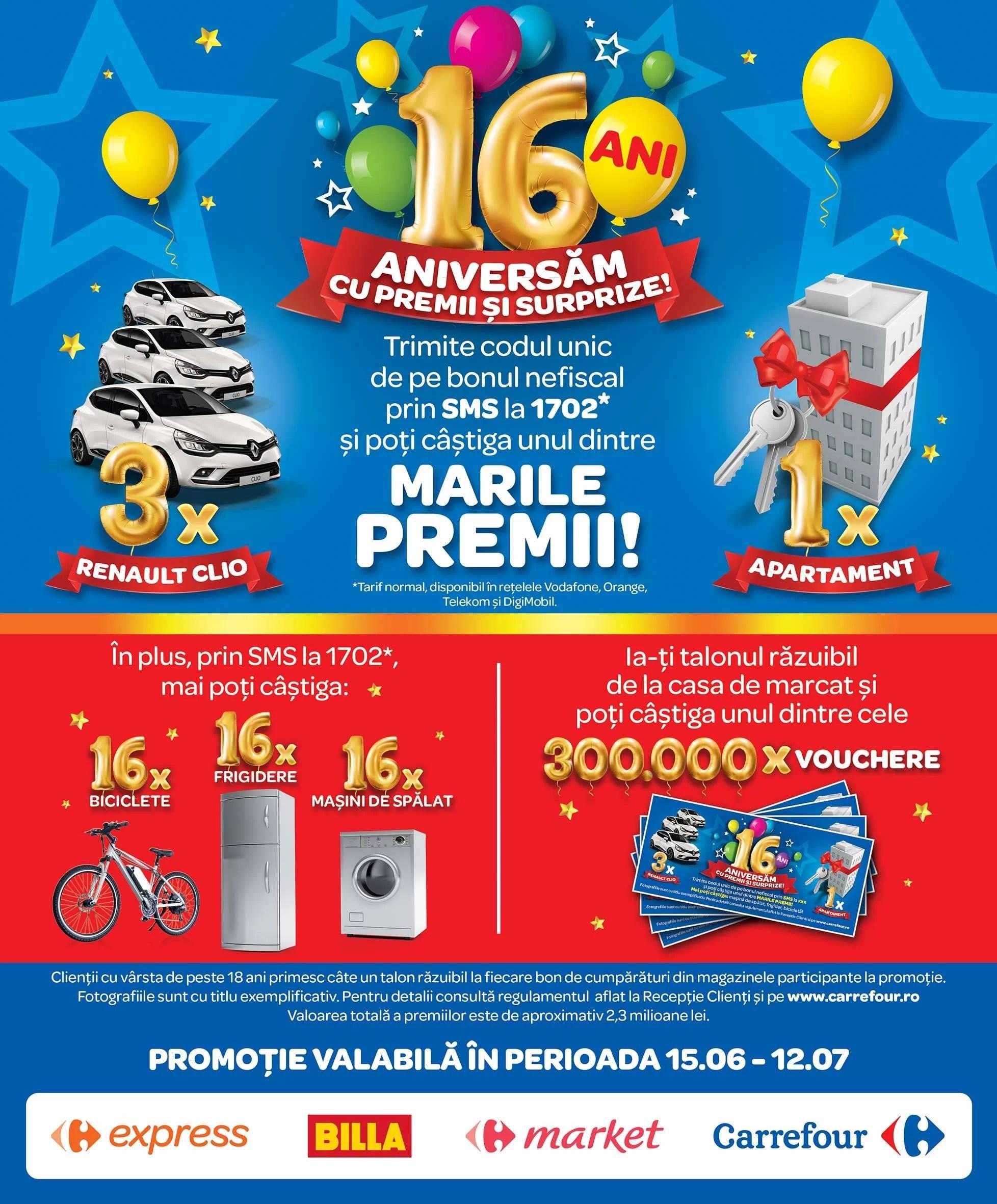 Carrefour sărbătoreşte 16 ani cu premii în valoare de peste  2,3 milioane lei la Marea Tombolă Aniversară