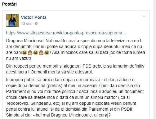 """Victor Ponta: """"Dragnea, Mincinosul Naţional"""""""