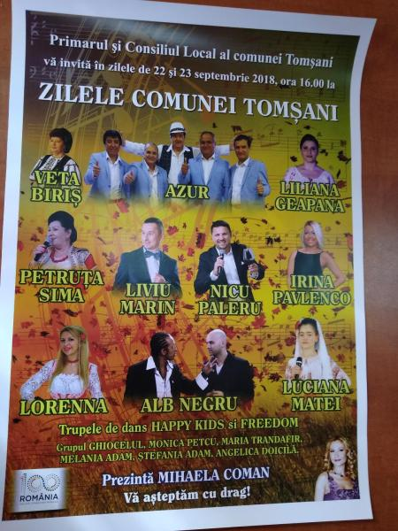 Zilele Comunei Tomşani 2018, organizate pe 22-23 septembrie