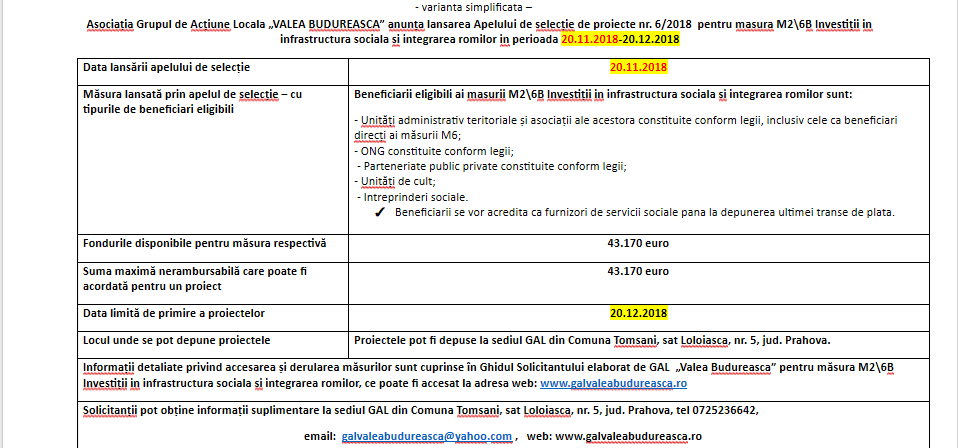 Apel de selecṭie de proiecte nr. 6/2018  pentru masura M2\6B Investiṭii in infrastructura sociala si integrarea romilor in perioada 20.11.2018-20.12.2018