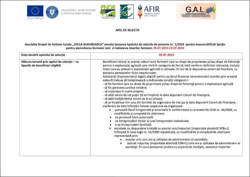 Masura M3\2A Sprijin pentru dezvoltarea fermelor mici si instalarea tinerilor fermieri, 09.07.2019-22.07.2019
