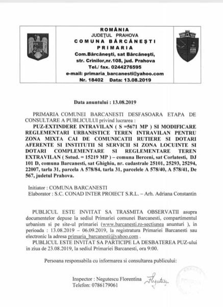 PRIMARIA COMUNEI BARCANESTI DESFASOARA ETAPA DE CONSULTARE A PUBLICULUI