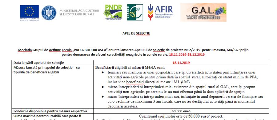 Apel de selectie de proiecte nr. 2/2019 pentru masura, M4/6A Sprijin pentru demararea de afaceri cu activități neagricole în zonele rurale, 18.11.2019-28.12.2019