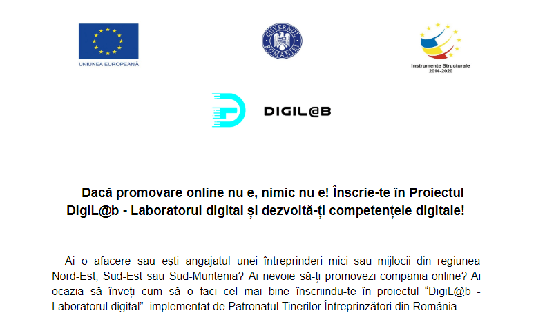Dacă promovare online nu e, nimic nu e! Înscrie-te în Proiectul DigiL@b – Laboratorul digital și dezvoltă-ți competențele digitale!