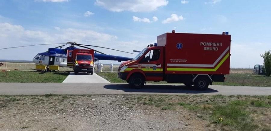Elicopterele MAI au adus pacienţii infectaţi, de la Braşov, la Spitalul Judeţean din Ploieşti