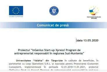 "Proiectul ""InGenius Start-up Xpress! Program de antreprenoriat responsabil în regiunea Sud-Muntenia"""