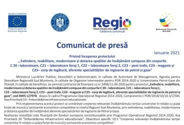 Anunț de presă Universitatea Petrol-Gaze din Ploieşti