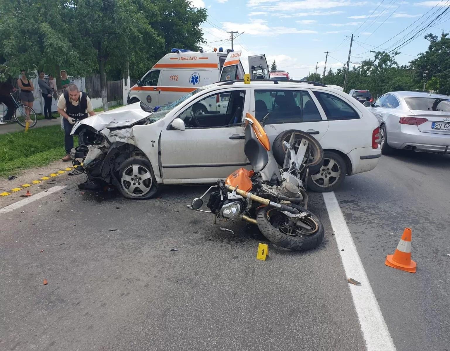 Motociclist, accidentat la Gura Vitioarei, a suferit amnezie retrogradă din cauza rănirii