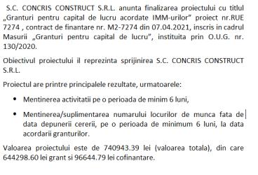 """Anunt finalizare proiect finantat prin Masura 2 """"Granturi pentru capital de lucru acordate IMM-urilor"""" pentru societatea S.C. CONCRIS CONSTRUCT S.R.L."""