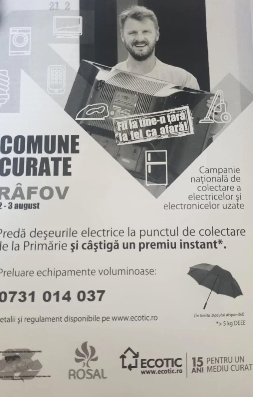 Campanie de predare a deșeurilor electrice și electrocasnice, în comuna Râfov (2 -3 august)