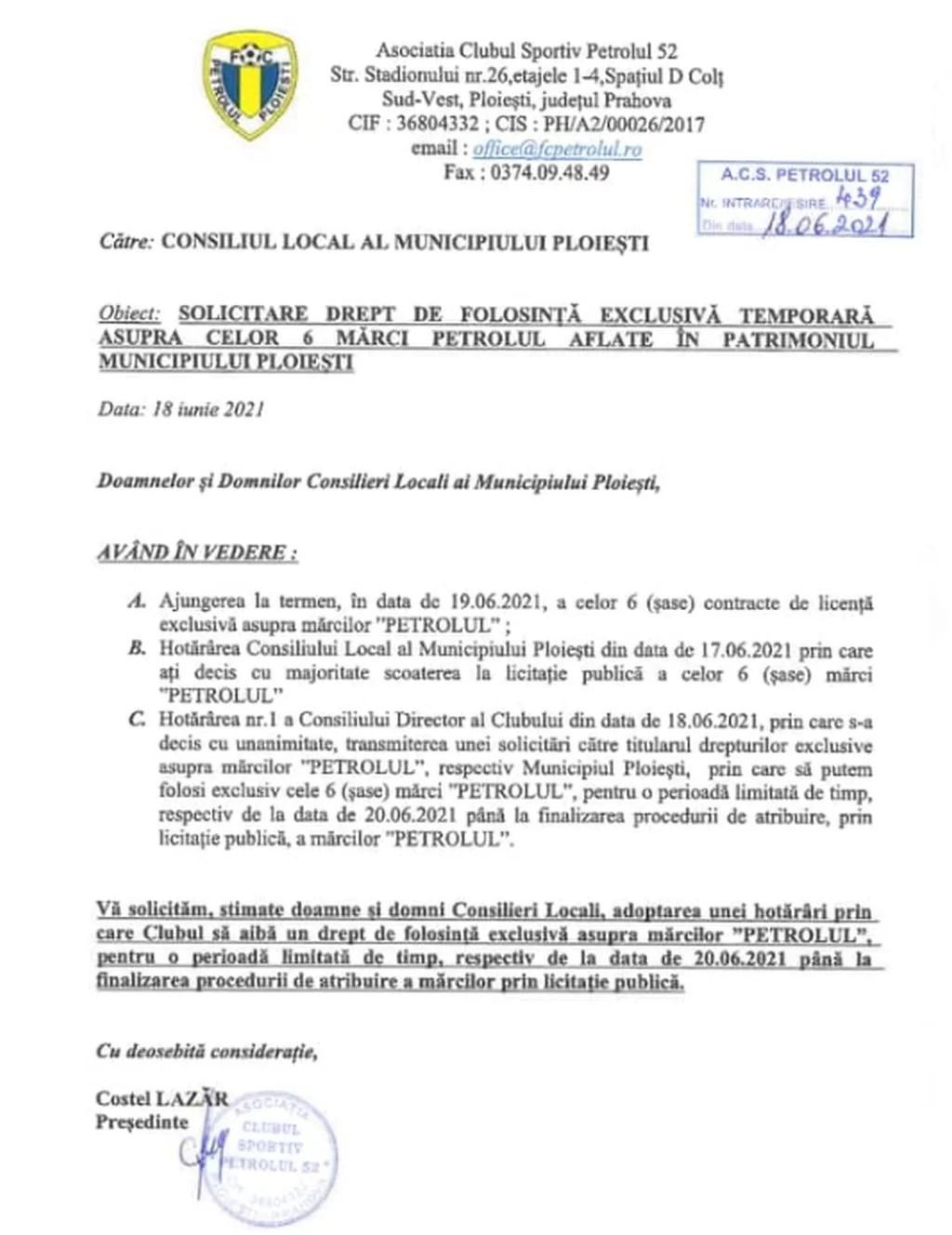 Va reveni Veolia România Servicii Integrate SA la ACS Petrolul '52 Ploiești? Sub ce formă ar face-o, de data aceasta? Corespondența dintre conducerea executivă a clubului și reprezentanța locală a bine cunoscutei multinaționale se intensifică!