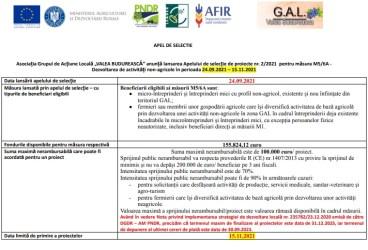 """Asociația Grupul de Acțiune Locală """"VALEA BUDUREASCĂ"""" anunță lansarea Apelului de selecție de proiecte nr. 2/2021 pentru măsura M5/6A -Dezvoltarea de activități non-agricole în perioada 24.09.2021 – 15.11.2021"""
