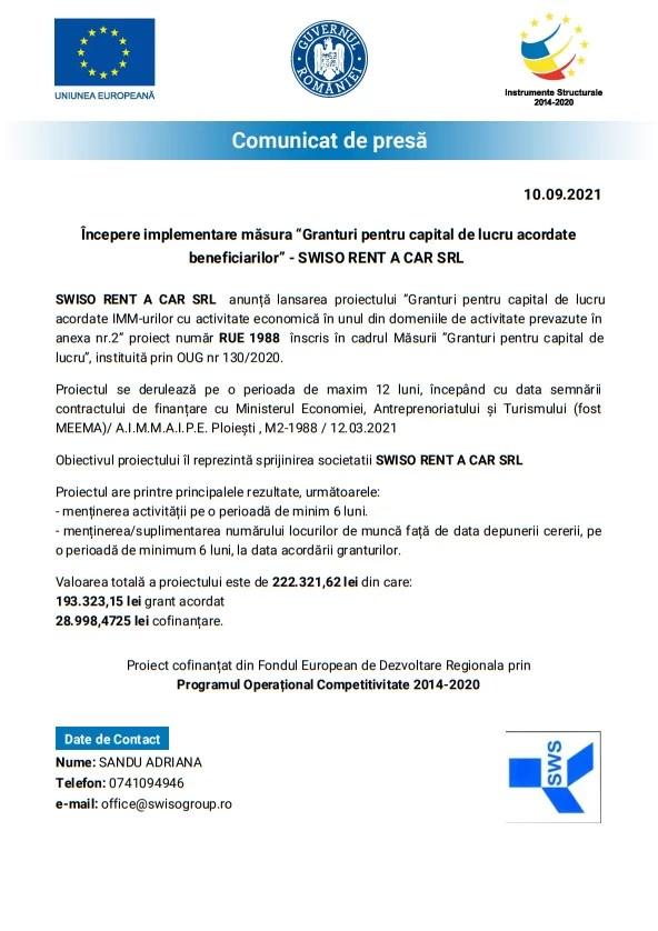 """Începere implementare măsura """"Granturi pentru capital de lucru acordate beneficiarilor"""" – SWISO RENT A CAR SRL"""