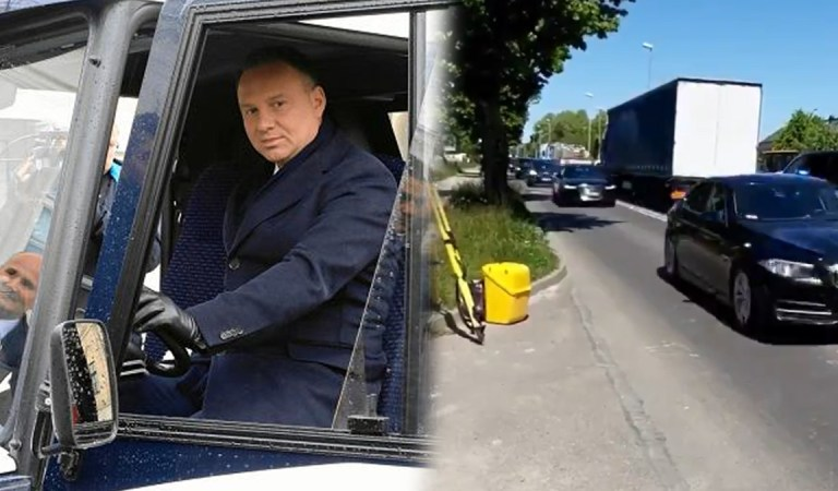 """""""Z drogi śledzie bo Andrzej jedzie"""" zablokowana cała ulica, bo Duda jedzie na kampanie."""