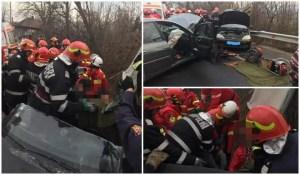 ACCIDENT TERIBIL Un mort și patru răniți, după ce două mașini s-au ciocnit frontal