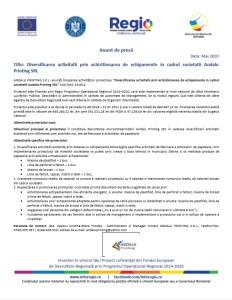 Anunț: Diversificarea activității prin achiziționarea de echipamente în cadrul societații Andalu Printing SRL