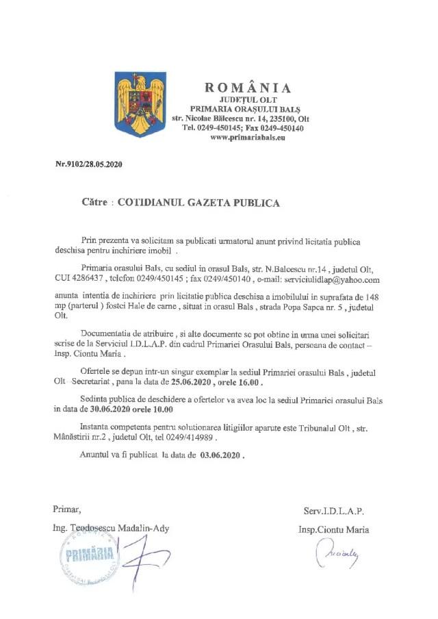 ANUNȚ: Primăria Balș