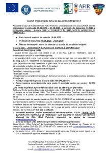 ANUNȚ  PRELUNGIRE APEL DE SELECȚIE SIMPLIFICAT Masura 3/2B