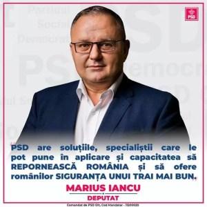 Marius Iancu:''SCOPUL PSD ESTE SIGURANȚA UNUI TRAI MAI BUN PENTRU TOȚI ROMÂNII''