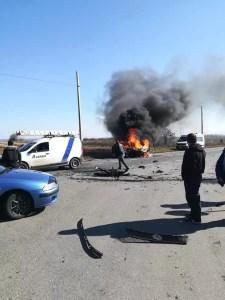 O mașină a luat foc, în Olt