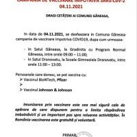 Campanie de vaccinare la Găneasa