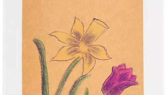 """01_Crayon Coloration de fleurs de la première année avec la note de sa mère Heritage Auctions_1.jpg """"class ="""" portrait img-responsive """"data-caption ="""" Dessin au crayon par Neil Armstrong, vendu 15 000 $ aux éditions Heritage Auctions."""