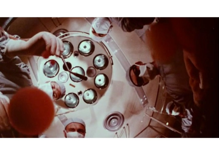 A film still of open-heart surgery from Miracles in Modern Medicine.