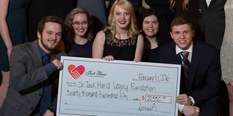 Engineering Society A presented a $20,600 cheque to Tina Hand and Hilary Williams.