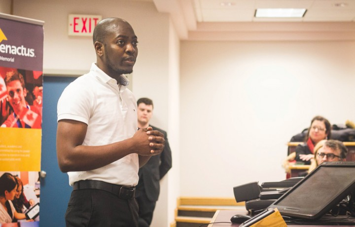 Ola King presents his business, an app called Sweeft, to a panel of judges during Enactus Memorial's Innovation Challenge.