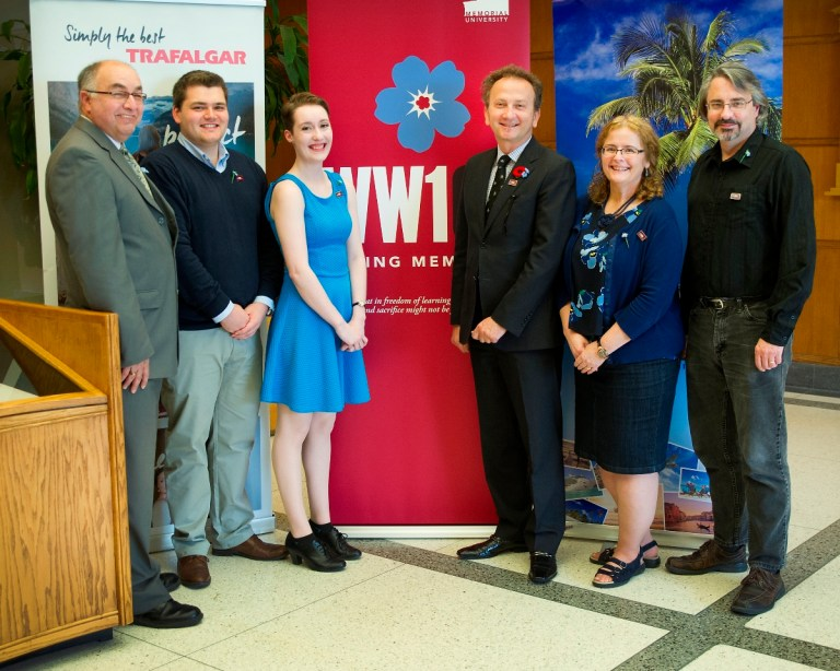 From left are Derek Winsor, Seamus Hogan, Katie Cranford, Wolf Paunic, Prof. Terry Bishop-Sterling and Dr. Luke Ashworth.