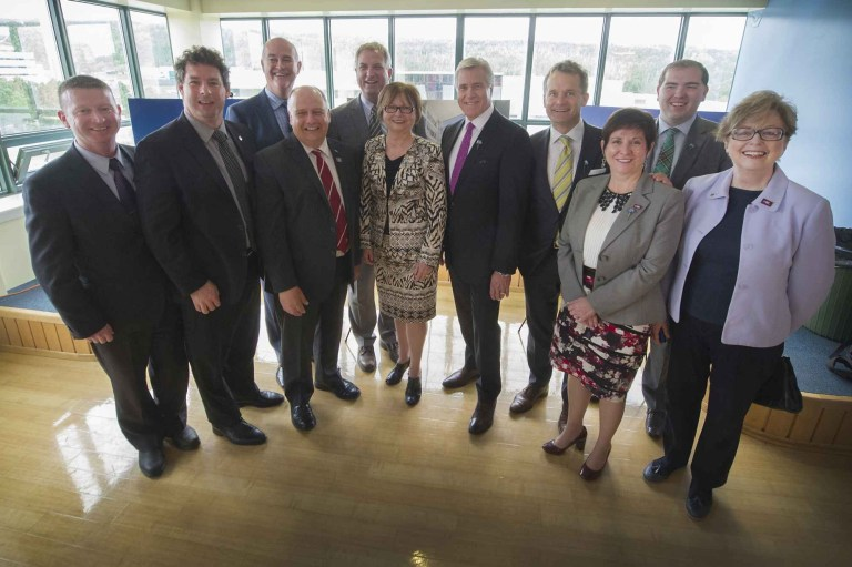 Federal, provincial and university partners at the funding announcement on June 23.