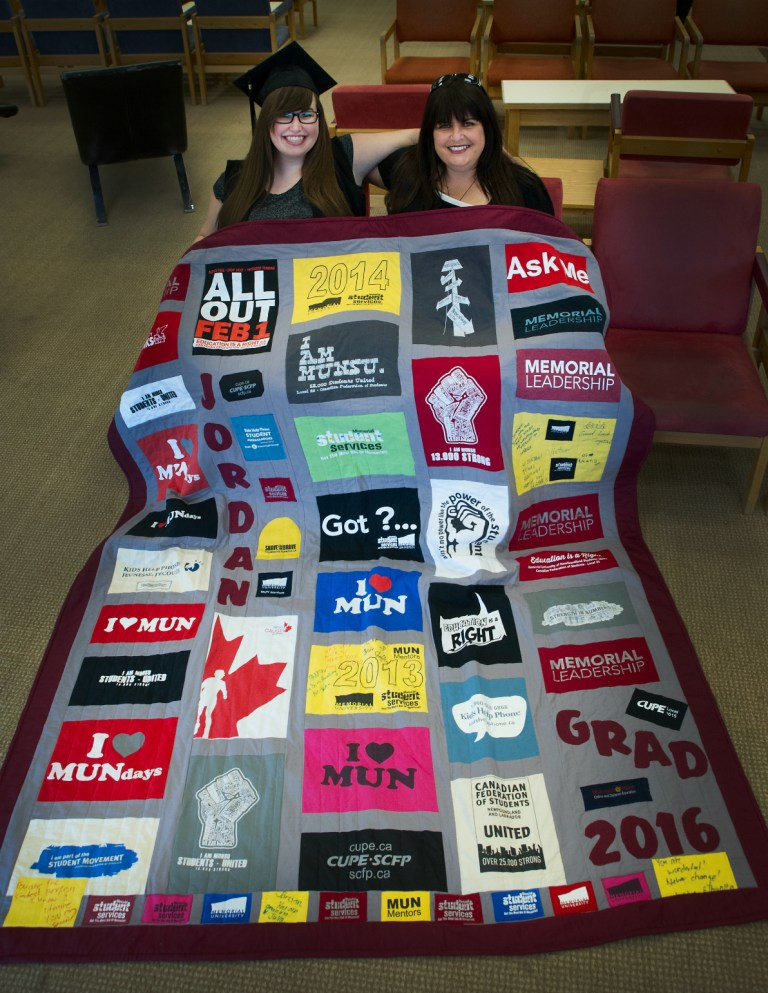 From left, Jordan and Peggy Chafe with Jordan's Memorial quilt.