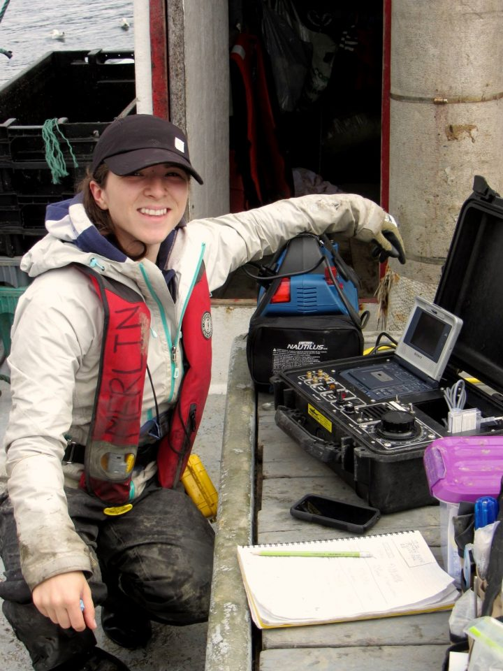 PhD student Emilie Novaczek collecting seafloor video in Smith Sound, NL.
